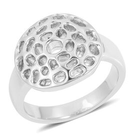 WEBEX- RACHEL GALLEY Rhodium Overlay Sterling Silver Enkai Sun Small Disc Ring, Silver wt 5.26 Gms.