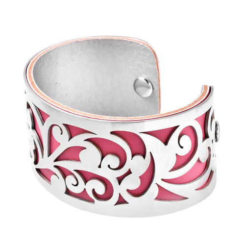 Designer Inspired-Vine Pattern Cuff Bangle (Size 7.5) in Stainless Steel