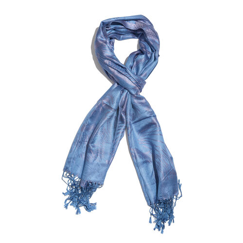 SILK MARK - 100% Superfine Silk Blue and Lavender Colour Jacquard Jamawar Scarf with Fringes (Size 180x70 Cm) (Weight 125-140 Grams)