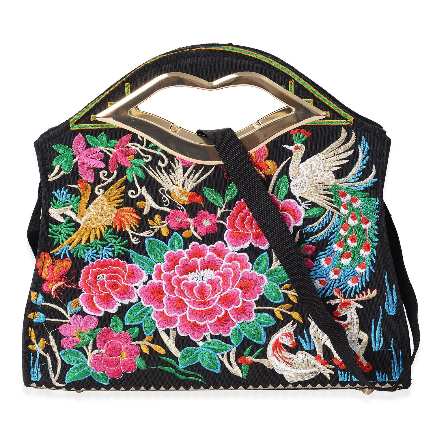 Multicolour Flower Embroidery Pattern Tote Bag with Detachable Shoulder Strap