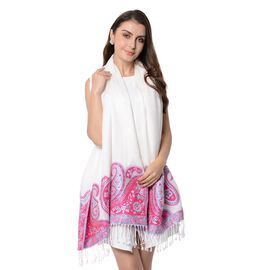 White Colour Paisley Pattern Scarf with Tassels (Size 180x68+8 Cm)