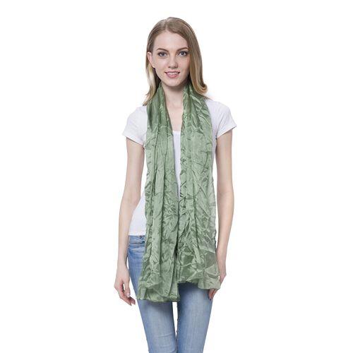 100% Mulberry Silk Pantone Greenery Colour Scarf (Size 180x110 Cm)