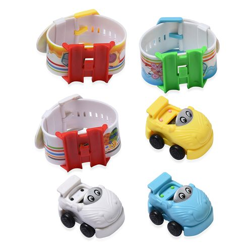 Set of 3  White, Yellow and Blue Car Cartoon Designer LED Electronic Watch with Water Resistant in White Silicone Strap