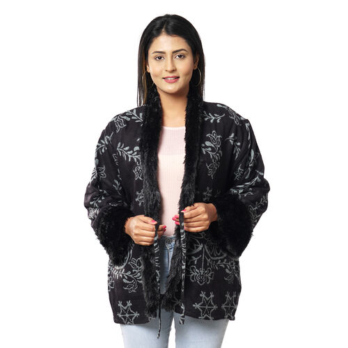 Floral Damask Pattern Cozy Jacquard Jacket with Faux Fur Trim and Long Sleeve (Size M/L, 10-16) - Black