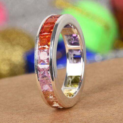 Elanza- Designer Inspired - Princess Cut Channel Set Simulated Rainbow Sapphire Ring in Sterling Silver Ring Ct wt 3.82 Cts