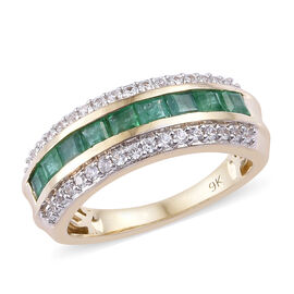 9K Yellow Gold Premium AA Brazilian Emerald (Sqr), Natural Cambodian Zircon Ring (Size N) 1.250 Ct.