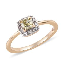 9K Yellow Gold Yellow Diamond (Cush), Diamond Ring 0.500 Ct.