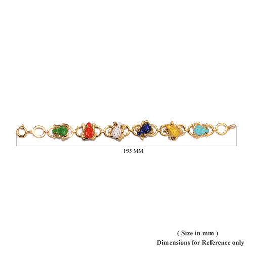 GP - Russian Diopside and Blue Sapphire Enamelled Frog Link Bracelet (Size 7.5) in 14K Gold Overlay Sterling Silver, Silver wt 24.48 Gms