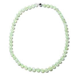 Prehnite Beaded Necklace with Magnetic Lock in Rhodium Plated Sterling Silver 20 Inch