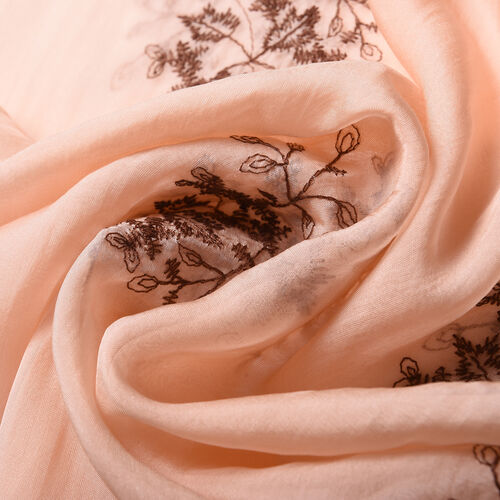 LA MAREY 100% Mulberry Silk Flower Embroidery Pattern Scarf in Orange (180x58cm)