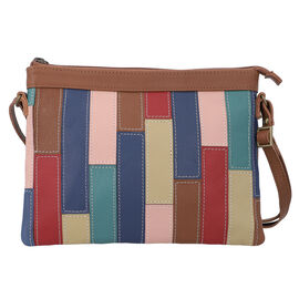 100% Genuine Leather Sling Bag with Shoulder Strap (Strap Size:115cm, Bag Size:26x20 CM) - Tan and M