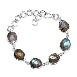 27.28 Ct Labradorite Friendship Bracelet in Silver 8 Inch with Extender