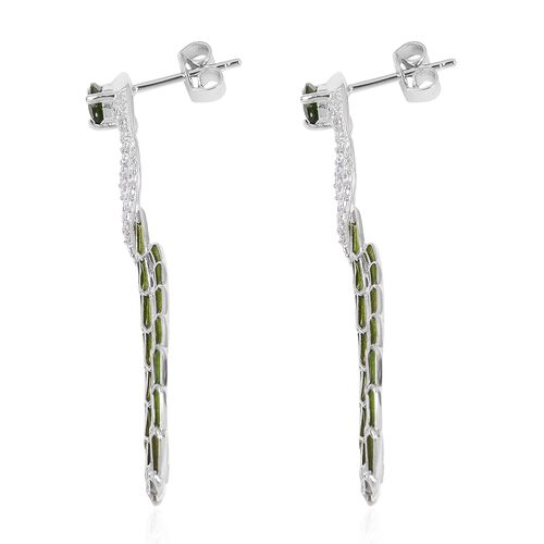 Designer Inspired - Russian Diopside (Pear), Natural White Cambodian Zircon Serpentine Earrings in Platinum Overlay Sterling Silver