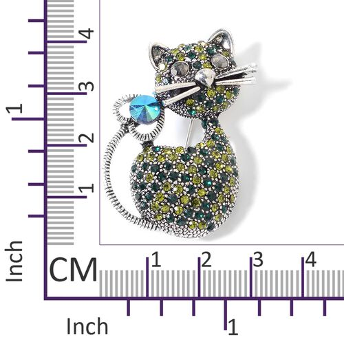 Multi Colour Austrian Crystal (Rnd) Kitty Brooch in Silver Tone