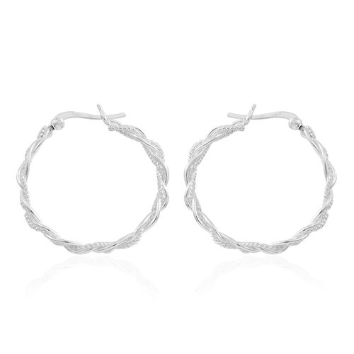 Sterling Silver Hoop Mesh Earrings (with Clasp Lock), Silver wt. 4.13 Gms.