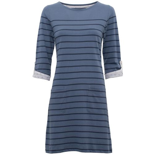 BRAKEBURN 100% Cotton Jersey Stripe Blue Dress (Size-14)