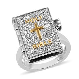 Holy Bible Book Ring in Platinum and Gold Plated Sterling Silver 8.50 Grams