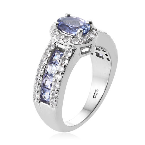 Tanzanite (Ovl), Natural Cambodian Zircon Halo Ring in Platinum Overlay Sterling Silver 2.250 Ct., Silver wt 5.36 Gms.