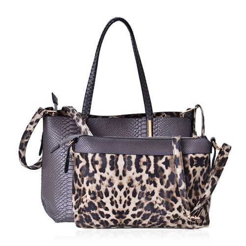 Set of 2 - Snake Embossed Grey Colour Tote Bag (Size 37x24.5x15 Cm) and Chocolate Colour Leopard Pattern Crossbody Bag (Size 32x22.5x13 Cm)