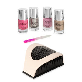 Majique: Nail Buddy Set (Incl. Nail Buddy, Crystal Nail File & 4 Varnishes) - Nude