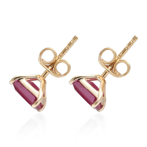 WEBEX- 9K Yellow Gold AA African Ruby (Oct) Solitaire Earrings (with Push Back) 1.75 Ct.