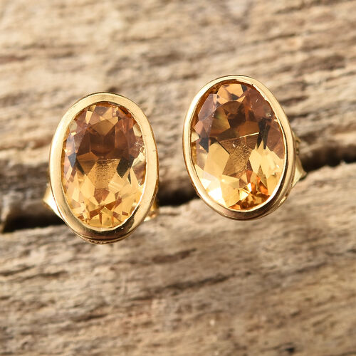 Citrine (Ovl) Stud Earrings (with Push Back) in 14K Yellow Gold Overlay Sterling Silver 1.50 CT
