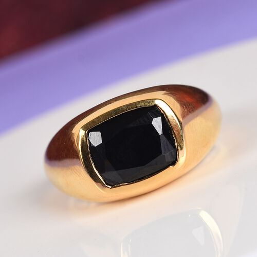 Boi Ploi Black Spinel Solitaire Ring in 14K Gold Overlay Sterling Silver 4.25 Ct.