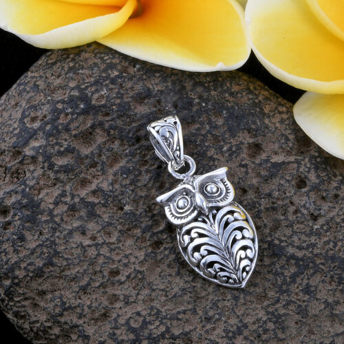 Royal Bali Collection- Sterling Silver Owl Filigree Pendant