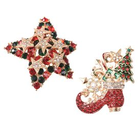 2 Piece Set - Multicolour Austrian Crystal (Rnd) Star and Shoe Enamelled Brooch in Yellow Gold Plate