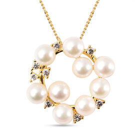 Japanese Akoya Pearl and Natural Cambodian Zircon Pendant in Yellow Gold Overlay Sterling Silver