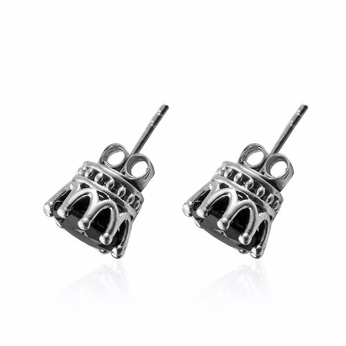 Black Tourmaline (Rnd) Stud Earrings (with Push Back) in Platinum Overlay Sterling Silver 5.000 Ct.