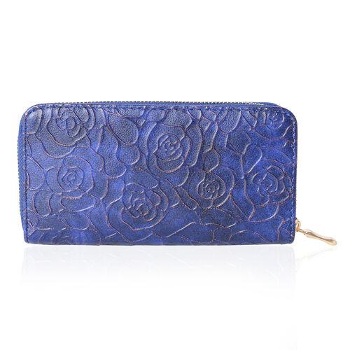 Designer Inspired- Royal Blue Colour Bronze Roses Embossed Wallet With RFID Blocking  (Size 19x10x2.5 Cm)