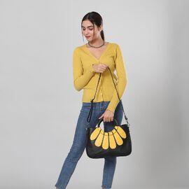 100% Genuine Leather Satchel Bag with Detacheable Shoulder Strap- Black Patels Yellow