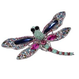 Multi Colour Austrian Crystal Dragonfly Brooch or Pendant With Chain (Size 24) in Stainless Steel