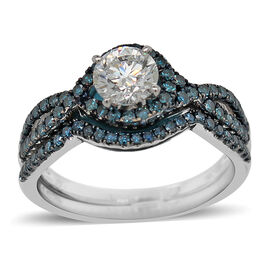 Set of 2 - 14K White Gold Blue Diamond and White Diamond (SI-I1/G-H) Ring 1.25 Ct.