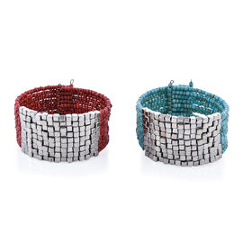 Set of 2 Coral and Turquoise Colour Cuff Bangles 7.5 Inch