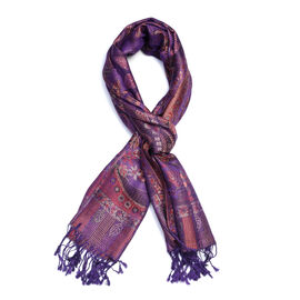 SILK MARK - 100% Superfine Silk Purple, Red and Multi Colour Flower and Leaf Pattern Scarf (Size 180
