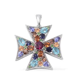 Rhodolite Garnet (Rnd), Jenipapo Andalusite, Paraiba Apatite, Iolite, Ratnapura Hessonite Garnet and Multi Gemstone Pendant With Chain in Platinum Overlay Sterling Silver 5.761 Ct.