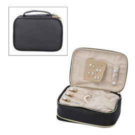 Portable Jewellery and Cosmetic Organiser with Zipper Closure (Size 24x17x9 Cm) - Black