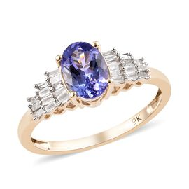 1 Carat Tanzanite and Diamond Ballerina Ring in 9K Gold