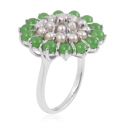 Designer Inspired-Fresh Water Pearl (Rnd), Green Jade Ring in Rhodium Plated Sterling Silver 5.800 Ct. Silver wt 6.00 Gms.