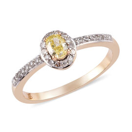 9K Yellow and White Gold Natural Yellow Diamond and White Diamond Ring 0.50 Ct.