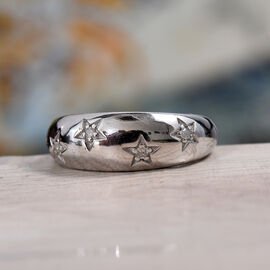 Diamond Star Dome Ring in Platinum Overlay Sterling Silver