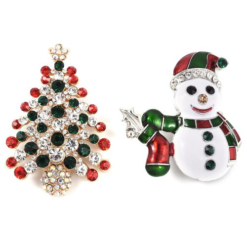Set of 2 - Multi Colour Austrian Crystal Snowman and Christmas Tree Brooch