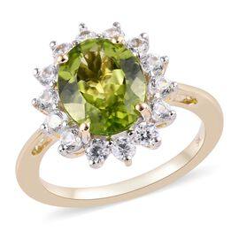 4.08 Ct AA Hebei Peridot and Zircon Floral Halo Ring in 9K Gold 2.76 Grams
