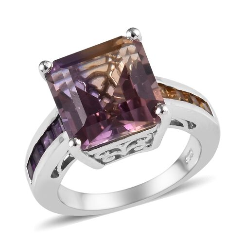Anahi Ametrine (Oct 11x11 mm), Amethyst and Citrine Ring in Platinum Overlay Sterling Silver 7.00 Ct, Silver wt 5.18 Gms