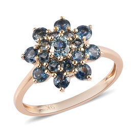 9K Yellow Gold AA Montana Sapphire Floral Cluster Ring 1.49 Ct.