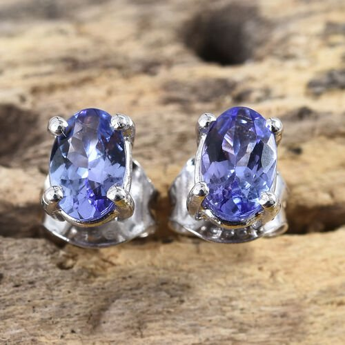 Tanzanite 1 Ct Silver Stud Earrings (with Push Back) in Platinum Overlay