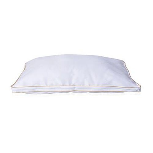 Down Alternative Pillow Cover with Gold Piping and Zipper Closure (Size 50x70cm) - White