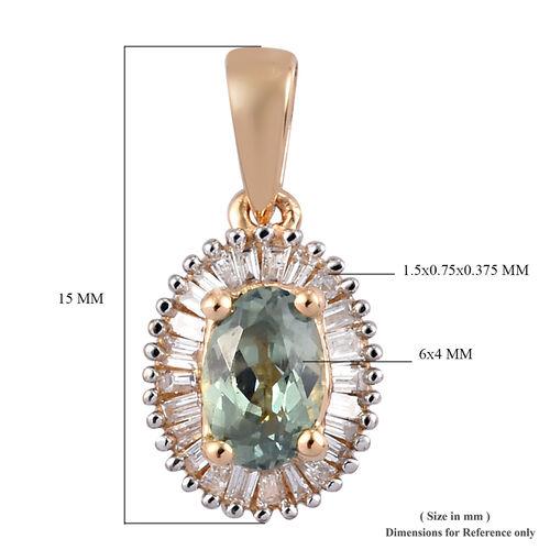 ILIANA 18K Yellow Gold  Narsipatnam Alexandrite and Diamond (SI/G-H) Halo Pendant 0.70 Ct.